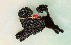 Portuguese Water dog  Pin / Pendant in pewter with a Red  Rose