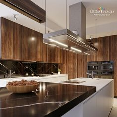 A modern and beautiful kitchen design using led lights. Enhance the ambient and create your kitchen of dreams. Beautiful Kitchen Designs, Beautiful Kitchens, Garage Lighting, Kitchen Lighting, Types Of Lighting, Shop Lighting, Led Shop Lights, Contemporary, Modern