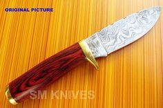CUSTOM HAND MADE Hunting Knife Specification length inches Handle are made of Red dollar sheath and Brass Bolster blade made of Damascus steel with - HRC that produce sharp edge Cafe Racer Build, Fixed Blade Knife, Brass Handles, Custom Knives, Damascus Steel, Metal Crafts, Good Grips, Blacksmithing, Kitchen Knives