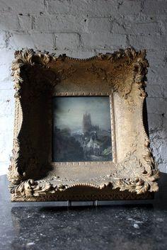 An Atmospheric 19thC English School Mixed Media Street Scene in an Extraordinary Gesso Gilt Frame c.1860-80