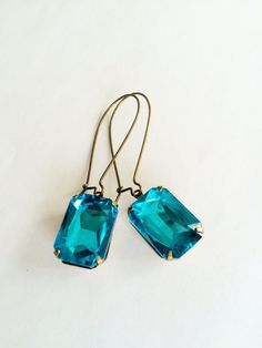 VINTAGE SWAROVSKI Turquoise Rhinestone Drop EARRINGS / Aqua Blue / Estate Style / Dangle / Rectangular / Bridesmaid Earrings / Gift Boxed - product images  of