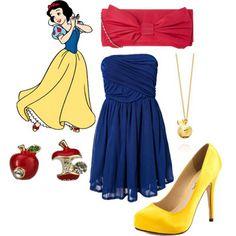 vamos começar com quao fofo de inspirar um look com as princesas! e esse da branca de neve ta mto bonito