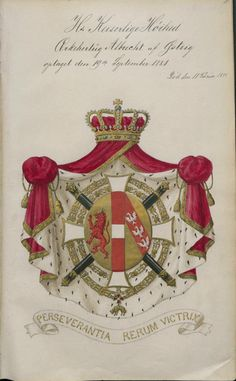 Archduke Albrecht, field marshal, knight of the Order of the Golden Fleece, knight grand cross of the Order of St Leopold. From the registers of the Danish Order of the Elephant. Family Crest Symbols, Archduke, Field Marshal, Grand Cross, Holy Roman Empire, Lineage, Kaiser, King Charles, Coat Of Arms