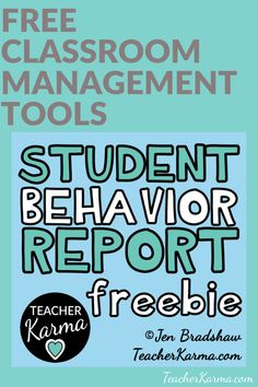 Improve Student Behavior with These Forms — Teacher KARMA Student Behavior, Classroom Behavior, School Classroom, Classroom Ideas, Behavior Report, Classroom Organization, Free Teaching Resources, Teaching Strategies, Teaching Tools