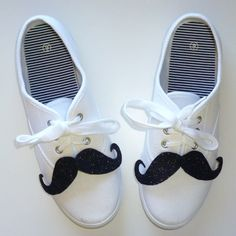 | DIY:  Sneakers + a moustache brooch. Love it! fun foam and tie into the laces