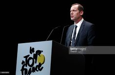 Christian Prudhomme, General Director of the Tour de France delivers a speech during the presentation of the Tour de France 2016 on October 20, 2015, in Paris, France. The 103 rd edition of the Tour de France cycling race will start on 02 July in Mont-Saint-Michel, France and arrives in Paris on 24 July 2016.  #TDF2016 #rm_112