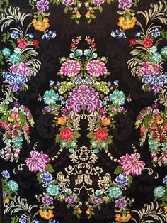 Textiles, Textile Patterns, Antique Wallpaper, Curtain Patterns, Pretty Patterns, Colour Schemes, Art Pictures, Flower Art, Sleeve Tattoos