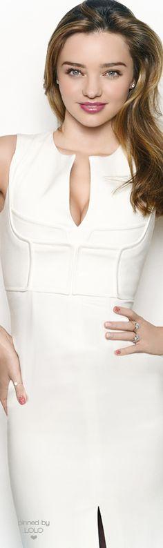 Miranda Kerr ~ Spring White Sleeveless Keyhole Dress 2015 via LOLO