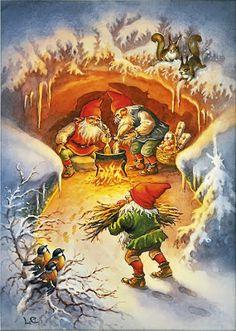 Art of Lars Carlsson Norwegian Christmas, Scandinavian Christmas, Christmas Gnome, Christmas Scenes, Troll, Christmas Illustration, Fairy Art, Vintage Christmas Cards, Christmas Pictures