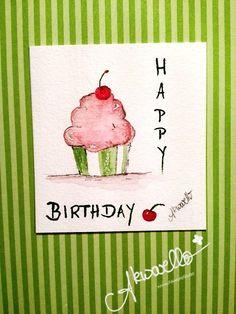 Happy Birthday card by Akwarello #cupcake #Geburtstag #muffin