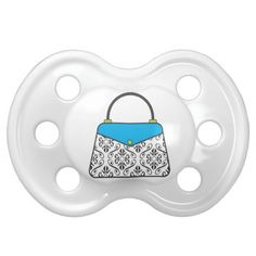 Damask Purse Handbag Pacifier in blue and black. Perfect for the fashionista baby! Can also be customized with name or monogram. Great baby shower gift! www.gem-ann.com (Zazzle store)