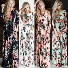Cotton Silks And Satins Women Maxi Dress Flower Printed With Pocket Long Sleeve