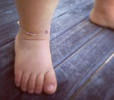 Baby anklet baby girl jewelry purple beaded ankle by Aupetitpied, $26.99
