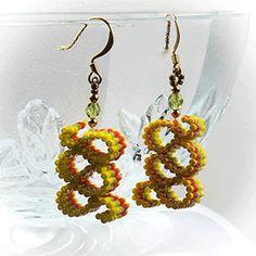 Ribbon Candy Earrings (Yellow, Green, Orange) at Sova-Enterprises.com