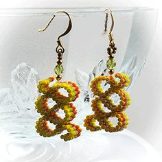 Ribbon Candy Earrings (Yellow, Green, Orange) at Sova-Enterprises.com