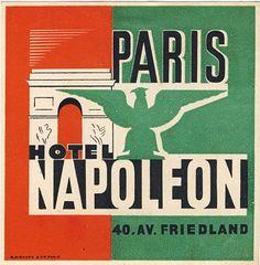 :: Hotel Napoleon Paris France Luggage Label ::