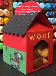 Stampin Up dog house, bakers box, cutie pie, hey girl, back to basics alphabet Cute Crafts, Diy Crafts, Treat Holder, Treat Box, 3d Paper Crafts, Stampin Up Catalog, Dog Cards, Gift Packaging, Packaging Design