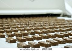 The conveyor for the production of chocolate factory Chocolate Factory, Candy, Food, Meals, Candy Bars, Sweets
