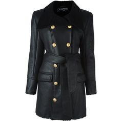 Balmain Sheepskin With Belt ($3,465) ❤ liked on Polyvore featuring outerwear, coats, black, balmain, balmain coat, sheepskin coat, double breasted coat and long sleeve coat