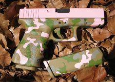 GOE Gun Works - Glock 19 Camo with pink slide. just like mine but more you and less me :) Handgun For Women, Pink Guns, Broken Bow, Pink Slides, Camo Stuff, Love Gun, Hunting Guns, Beautiful Wife, Pew Pew