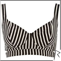 River Island Black and white Rihanna striped bra top ($45) ❤ liked on Polyvore