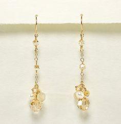 Champagne Crystal Earring, Bridal, Bridesmaid Jewelry, Long Dangle Earrings, Champagne Wedding Earrings