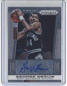 "2013/14 Prizm Basketball George Gervin Autographed Card - Spurs ""The Iceman"" #NBAABASanAntonioSpurs"