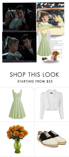 """""""hopelessly devoted to you"""" by priscilla12 ❤ liked on Polyvore featuring Phase Eight, Nearly Natural, Bass, couple, movie, Grease, sandy and dannyzuko"""