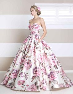 Divine pink floral dress from Wendy Makin making her debut on our 2013 catwalk at The Melbourne Bride Wedding Expo 20th year! We're excited!