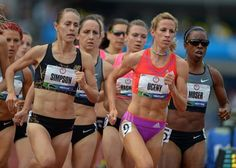 Jenny Simpson, left, and Morgan Uceny, right, battle in the women's 1,500-meter run during the U.S. Olympic track and field trials. Uceny won in 4:04.59.
