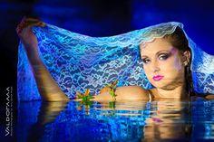 http://valdorama.com Artistic wet Afterglow photo session, Post wedding photo session, dark, backlit, blue light, water, bride, south windsor, ct,