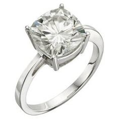 4.20 CT. T.W. Cushion Forever Brilliant® Moissanite Solitaire Prong Set Ring in 14K White Gold (9) : Target
