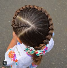 Curved Dutch braid with a triangle parting at the beginning of the braid