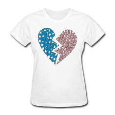 Broken Heart Women's T-Shirt White Women's T-Shirt | SnapMade.com ($20) ❤ liked on Polyvore featuring tops, t-shirts, heart t shirt, tee-shirt, t shirt, relax t shirt and sleeve shirt