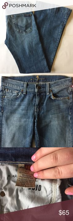 """7 For All Mankind Dojo Jeans Flare Size 25 7 For All Mankind. Size 25. Retail: $198. The Dojo is our original 5-pocket trouser jean. It sits low on the hips with a slightly higher rise in the back and a full wide leg opening. This rare Dojo features V-shaped stitching on back pockets and a wide trouser style hem.  ▫️Exact same Dojo fit that you're used to! ▫️Zip fly ▫️Cotton/Spandex ▫️Inseam: 30.25"""" ▫️Medium denim color with distressing ▫️PERFECT pre-owned condition except for a little wear…"""