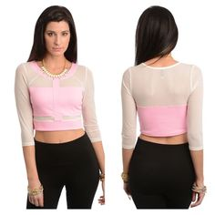 Medium (last medium!!) crop top This rounded neckline crop top features a sheer mesh cutout design. Quarter sleeve length.  Material: 100% polyester  Item is new in package, last size medium!!  ****PRICE FIRM NO TRADES**** ****PRICE FIRM NO TRADES**** ****PRICE FIRM NO TRADES**** ****PRICE FIRM NO TRADES**** Tops Crop Tops