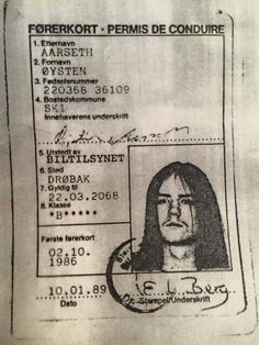 Euronymous driver licence