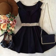 This in a deep navy blue. Mode Outfits, Girly Outfits, Dress Outfits, Casual Outfits, Fashion Dresses, Cute Dresses, Beautiful Dresses, Short Dresses, Mode Rockabilly