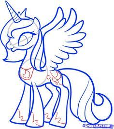 How To Draw Mlp | Step 10. How to Draw Luna, Princess Luna, My Little Pony