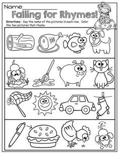 Fall Math and Literacy Packet (Kindergarten)! Rhyming Worksheet, Rhyming Activities, Kindergarten Worksheets, Worksheets For Kids, Rhyming Preschool, Matching Worksheets, Preschool Classroom, Kindergarten Language Arts, Kindergarten Literacy