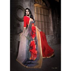 Diwali Special Red & Grey Printed With Border Georgette Saree-RKNK1165(FH-RKNK1161)