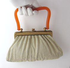 ffec80ffe4 Vintage Whiting   Davis Cream Mesh Purse