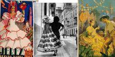 A finales de los años cuarenta las faldas ganan en volumen y adornos. En estos documentos gráficos apreciamos cómo el traje de flamenca marca el talle pero aumenta su volumen. Imágenes de 1946 y 1948.