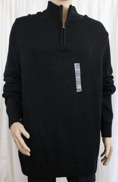 Black Mockneck Men's Quarter Zipper Sweater Croft & Barrow XLT Big and Tall #CroftBarrow #Mockneck