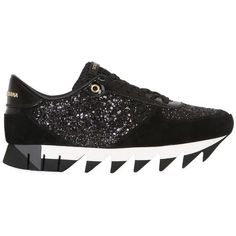 Dolce & Gabbana Women 20mm Capri Glitter & Suede Sneakers (13.525 ARS) ❤ liked on Polyvore featuring shoes, sneakers, black, dolce gabbana sneakers, suede leather shoes, dolce gabbana shoes, suede shoes and glitter shoes