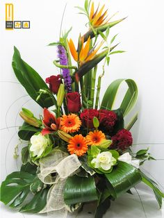 sweet sister and friend.many blessings to you! Contemporary Flower Arrangements, Tropical Flower Arrangements, Church Flower Arrangements, Rose Arrangements, Exotic Flowers, Tropical Flowers, White Flowers, Beautiful Flowers, Purple Flowers