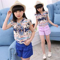 e89f8b0b35f Kids girls sleeveless suit 2017 new summer children s Chiffon casual  T-shirt big virgin piece shorts girl clothes years (Mainland))
