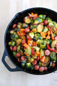 Skillet brussel sprouts, sweet potatoes, veg & sausage or grassfed hotdogs!