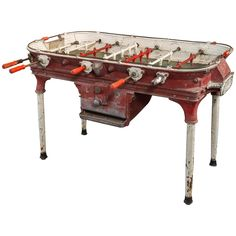 Vintage Cast Aluminum Foosball Table | From a unique collection of antique and modern game tables at http://www.1stdibs.com/furniture/tables/game-tables/
