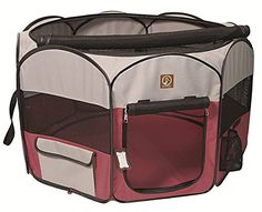 One for Pets Fabric Portable Pet Playpen, Small, Fuchsia/Grey